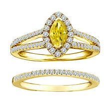 1.25 Carat Yellow Marquise Diamond Solitaire Double Halo Ring 14K Yellow Gold