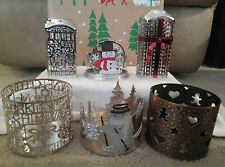 BATH & BODY WORKS CANDLE SLEEVES HOLDERS FOR 3 WICK CANDLES SNOW TREES