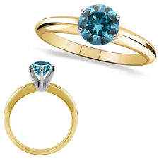 0.6 Carat Blue Round Diamond Solitaire Engagement Wedding Ring 14K Yellow Gold