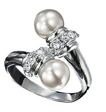 New Avon ELENA PEARLESQUE Cluster Pearl Bypass Ring in Silver - Sz 5 6 7 8 9 10