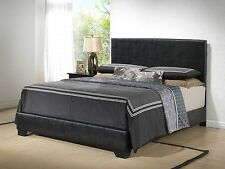 Black - Modern Upholstered Leather Bed with Headboard
