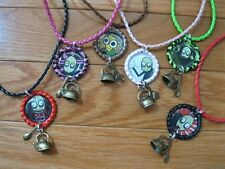 NEW SALAD FINGERS BOTTLE CAP WITH SPOON & KETTLE CHARMS ON BRAIDED LEATHER