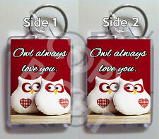 Owl always love you LARGE KEYRING / Sweet gift for girlfriend wife husband boy