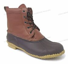 Men's Duck Boots Leather Insulated Waterproof 5-Eyelet Snow Winter Shoes, Sizes