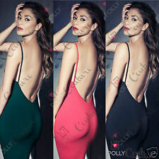 Womens Bodycon Celeb Black Red Green Ladies Backless Evening Midi Party Dress