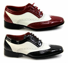 Mens spectator Two Tone, Black Red, wingtip, Brogue, gangster shoe, oxford style
