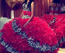 Red/Zebra Prom Dress Ball gown Quinceanera Dress Pageant Formal Dresses Size2-16