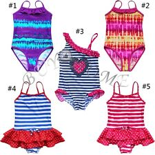 Girls Kid Baby One Piece Striped Polka Dots Swimsuit Swimwear Swim Bathing Suit