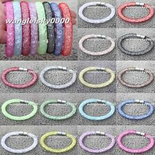 Net Mesh Wrap Stardust Bracelet Wristband Cuff Magnet Crystal Buckle Bangle Gift