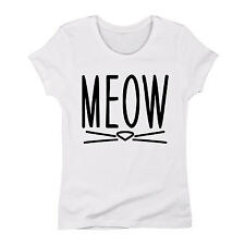 Meow Cute Cat Face Whiskers Hipster Cat Lady Kitten Costume Tee - Womens T-Shirt