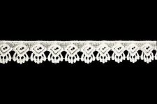 "Lily 1.25"" Small Rayon White and Ivory Venice Scallop Lace Trim By Yardage"
