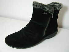 Ladies Rieker Z2750 Black Suede Zip Up Casual Wool Lined Ankle Boots