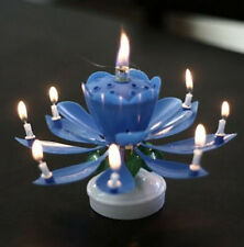 Amazing Romantic Musical Lotus Rotating Happy Birthday Candle 3 Colors