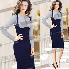 Womens Colorblock Elegant Wear To Work Business Party Bodycon Sheath Dress 167