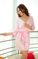 Soft Women Sexy Satin Lace Robe Sleepwear Lingerie Nightdress G-string Pajamas