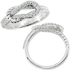 0.34 G-H Diamond Rope Love Knot Engagement Promise Women Ring 14K White Gold