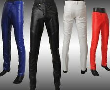 Fashion Mens personality slim trousers  fight skin faux leather pants colors #