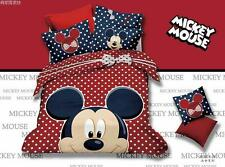 *** Polka Dot Mickey Mouse Queen Bed Quilt Cover Set - Flat or Fitted Sheet ***