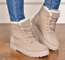 Hot Women's Winter Snow Fur Lined Lace Up Flat High Ankle Boots Round Toe Shoes