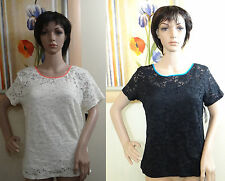STYLE & CO black w blue trim or ivory floral mesh short sleeve blouse/top,PM,PXL