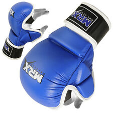 Cowhide Leather MMA Gloves Sparring Training Grappling Cage Boxing Glove Blue