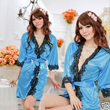 Polyester Lace V-Neck Robe Dressing Gown Robe With G- String