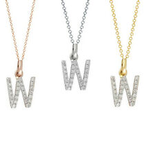 Diamond Initial Necklace 14K Real gold W diamond initial pendant charm 0.12 ct