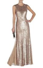 AUTH NWT $748 BCBG MAX AZRIA Charlyze Round-Neck Snake Sequined Gown