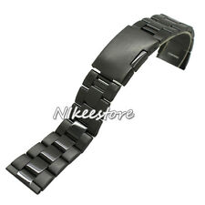New Black Solid Stainless Steel Watch Bands Deployment Buckle Bracelet Strap