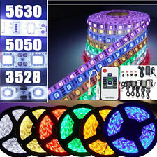 5M 3528 5050 5630 RGB Warm Cool White 300 LED Strip Light+RF Remote+Power Supply