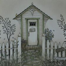 "LS808 Vintage Cottage Outhouse Linda Spivey 10""x10"" framed or unframed print art"