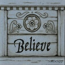 "LS799 Believe Linda Spivey 10""x10"" framed or unframed print art whitewash"