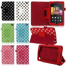 For 2014 Amazon Kindle Fire HD 6 Tablet Polka Dot Folio Leather Case Cover Stand