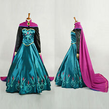 High Quality Princess Party Dress Cosplay Costume Women Girls Gown Dress + Cloak