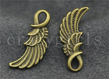 20/50pcs Zinc alloy Beautiful two-sided bird wings Charm Pendant 25x10mm