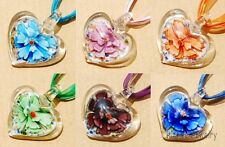 Lucency Heart Lampwork Flower Inside Art Murano Glass Pendant Necklace Jewelry