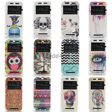 Painted Various Pattern Window View Leather Flip Stand Case Cover for HTC One M8