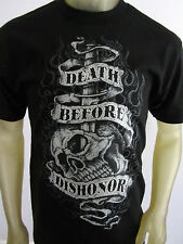 NEW Death Before Dishonor knife skull smoke tee shirt men's black sizes S-2XL