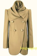 FRENCH CONNECTION CAMEL BROWN SAND  WOOL BLEND FLUTED COAT NEW