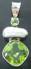 """100% REAL 925 sterling silver REAL """"PEARL"""" & REAL stone """"PERIDOT"""" pendant -WOMEN"""
