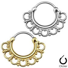 Gold / Silver Tribal Fan SEPTUM Nose RINGS Clicker Studs Body Piercing Jewelry