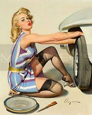 Gil Elvgren-Quick Change, Canvas/Paper Print, Pinup Girl, Car, Tire