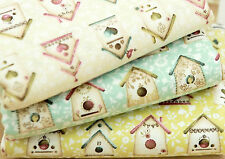 Bird house 100% Cotton Fabric / All sizes / Cotton fabric off cuts (fft003)