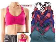 STRAPPY SEAMLESS CAGED BACK GYM YOGA WORKOUT SPORTS BRA Top Bra Bustier Pads