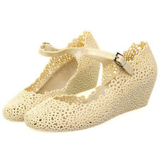 Womens New Summer Rubber Floral Round Toe Wedge Heel Sandal Soft Jelly Shoes