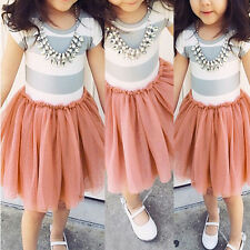 NEW Baby Girls Kids Princess Party Striped Tulle Tutu Gown Formal Dresses Skirt
