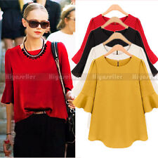 Hot Korean Women Fashion Chiffon Blouse Loose Lotus Sleeve Blouse Tops Shirt Tee