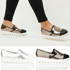 Womens ladies fashion snake chunky flatform cleated sole platform shoes size