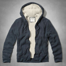 ABERCROMBIE & FITCH MEN SHERPA LINED WAFFLE HOODIE NAVY BLUE OR GRAY S, M, L NEW