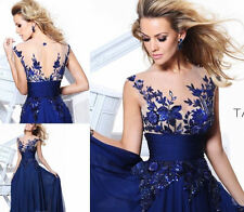 New Long Blue applique Prom Gown Evening/Formal/Party/Cocktail/Prom Dress Hot